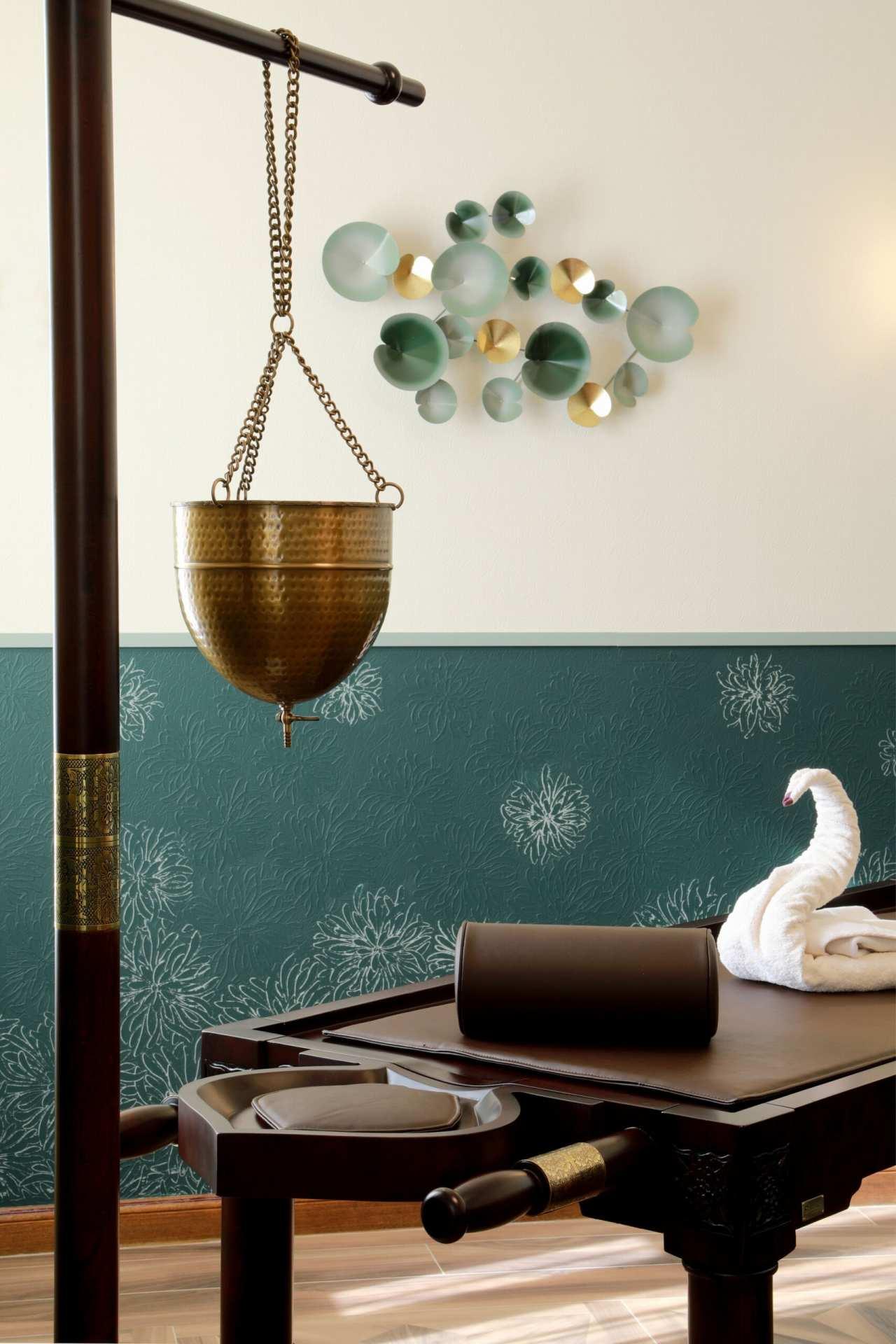 Chambre ayurvédique verte détail